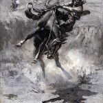 "Charles M. Russell (1864–1926). ""Escape,"" 1908. Black and white oil on canvas, 17 5/8 x 12 in. Gift of William E. Weiss. 21.73"