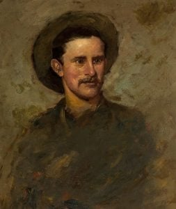 Alexander Phimister Proctor (1860-1950). Self portrait, 1882. Oil on paper. Buffalo Bill Center of the West, Cody, Wyoming, USA. Gift of A. Phimister Proctor Museum with special thanks to Sandy and Sally Church. 2.16.9. Photograph by William J. O'Connor.
