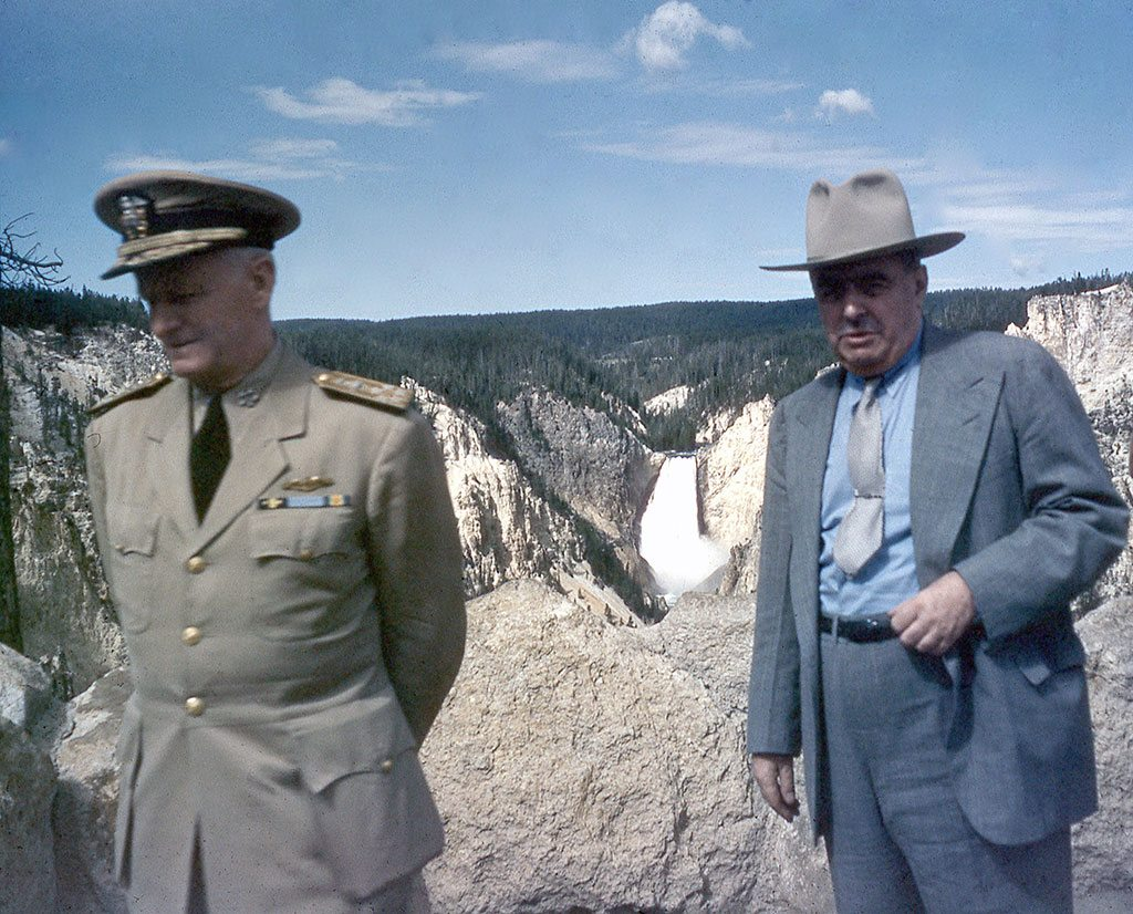 Fleet Admiral Chester W. Nimitz and U.S. Senator E.V. Robertson (R-Wyo.) on the occasion of the Admiral's and his staff's visit to Wyoming in July 1946. Photo courtesy Bob Richard.