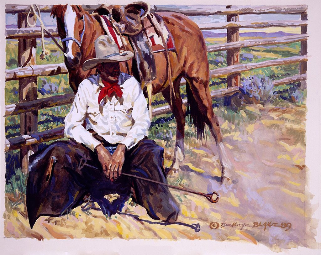 "Buckeye Blake. ""The Broken O,"" 1989, William E. Weiss Purchase Award – 1989 Buffalo Bill Art Show. 4.89"