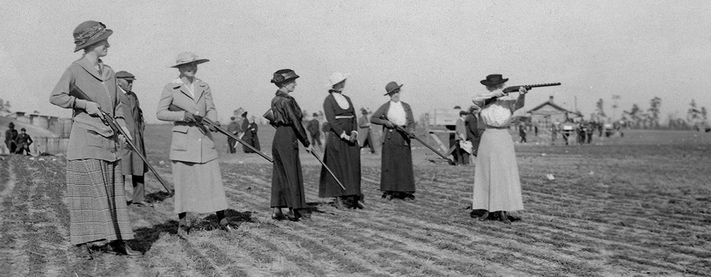 Annie Oakley shooting before a group of women., ca. 1920. MS6 William F. Cody Collection. P.69.1177
