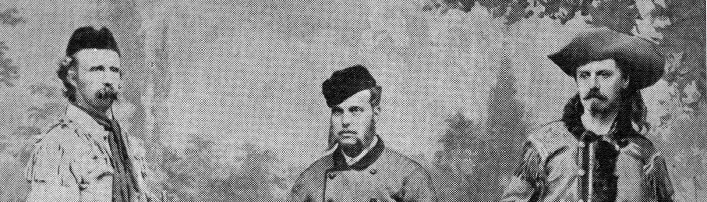 """Lt. Colonel George Armstrong Custer, Russia's Grand Duke Alexis, and William F. """"Buffalo Bill"""" Cody. Black and white photograph, 1872. MS 6 William F. Cody Collection. P.69.819 (detail)"""