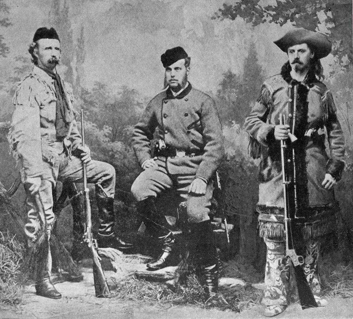 """Lt. Colonel George Armstrong Custer, Russia's Grand Duke Alexis, and William F. """"Buffalo Bill"""" Cody. Black and white photograph, 1872. MS 6 William F. Cody Collection. P.69.819"""