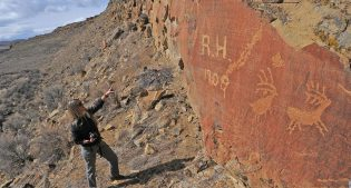 Bonnie Lawrence-Smith at Legend Rock Petroglyph Site.