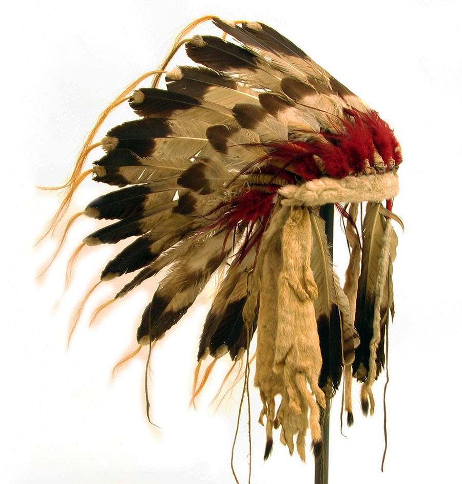 Feather bonnet possibly owned by Chief Joseph. Nez Perce, ca. 1877. Golden eagle, hawk and flicker feathers, ermine hide and fur, dyed horse hair, rawhide. The Paul Dyck Plains Indian Buffalo Culture Collection, acquired through the generosity of the Dyck family and gifts of the Nielson Family and Estate of Margaret S. Coe. NA.203.1547