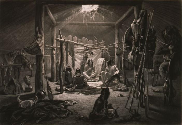 Karl Bodmer (1809–1893). The interior of the Hut of a Mandan Chief, ca. 1840–1843. Aquatint. Gift of Clara S. Peck. 21.69.19.