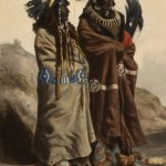 Karl Bodmer (1809-1893), Sih-Chida and Mahchsi-Karehde Mandan Indians, ca. 1840-1843, hand-colored aquatint and engraving on paper, Gift of Clara S. Peck, 21.69.73.