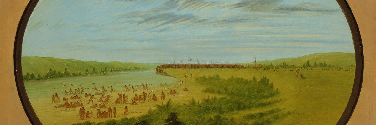 George Catlin (1796-1872), Mandan Village, Mandan-View of the Missouri above the village whilst the women and children are bathing, ca. 1855-1870, oil on paperboard, Gift of Paul Mellon, 25.86.