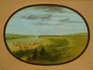 George Catlin (1796–1872). Mandan Village, Mandan—View of the Missouri above the village whilst the women and children are bathing, ca. 1855–1870. Oil on paperboard. Gift of Paul Mellon. 25.86.