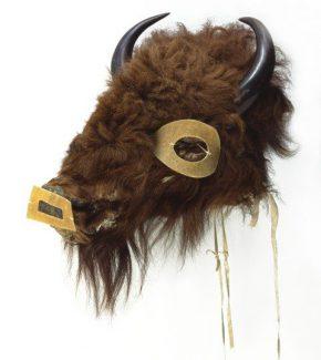 Mask, Mandan, ca. 1860. Wood, buffalo hide, buffalo horns. Chandler-Pohrt Collection. Gift of Mr. William D. Weiss. NA.203.359.