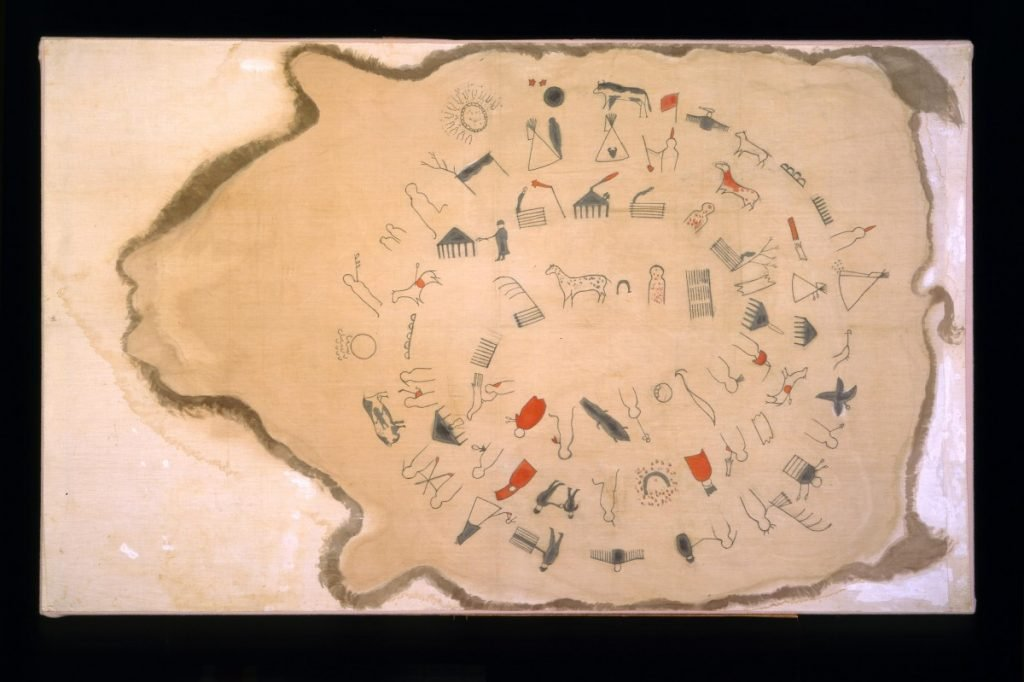 Winter Count, Sioux, Fort Peck Indian Reservation, Montana, early 1900s, copy of Lone Dog's 1800–1871 winter count. Paint, muslin. Museum purchase. NA.702.5.