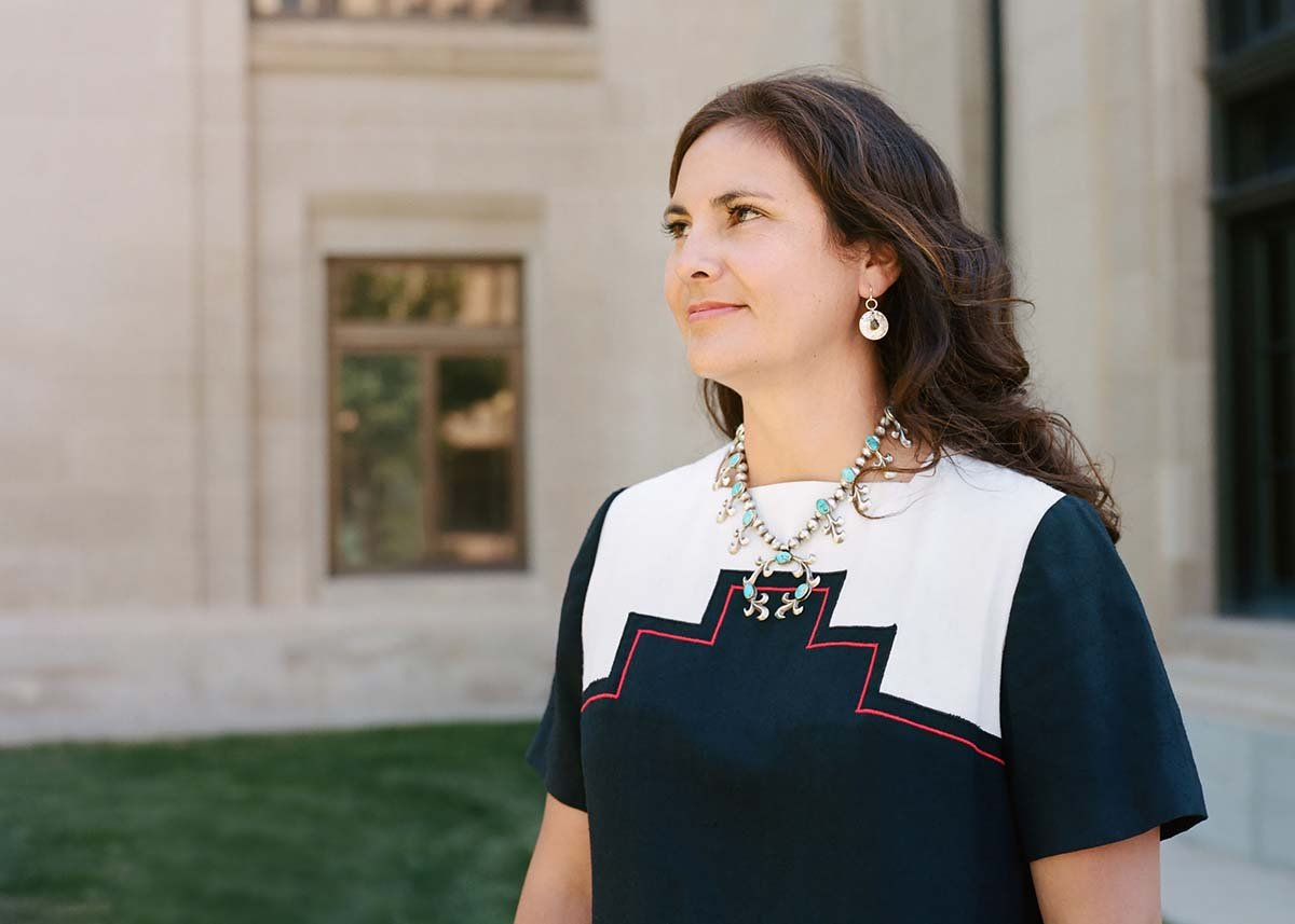 Wyoming's first Navajo and Native American State Senator, Affie Ellis in Cheyenne, Wyoming. Her squash blossom necklace was made by her grandfather, Tom Burnside. Photo by Lindsay Linton Buk.