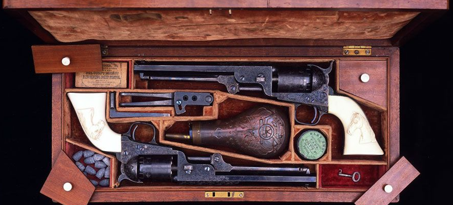 Cased Colt Model 1851 Navy Revolvers attributed to Colonel Colt.