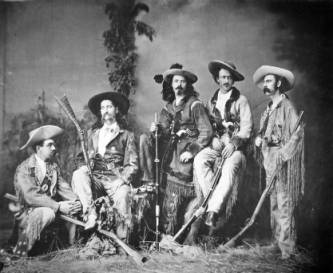 Left to right: Eugene Overton, Wild Bill Hickok, Buffalo Bill Cody, Texas Jack Omohundro, and Elisha Green.
