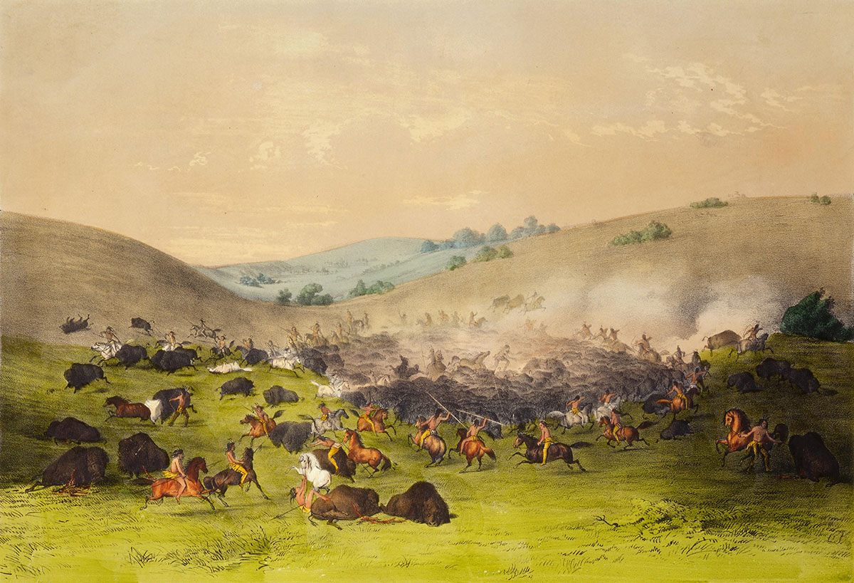 "George Catlin (1796-1872). ""The Buffalo Hunt-Surrounding the Herd,"" ca. 1865. Currier and Ives print. Gift of W.J. (Bill) Holcombe, Bear Creek Ranch, Dubois, Wyoming. 9.94.1"