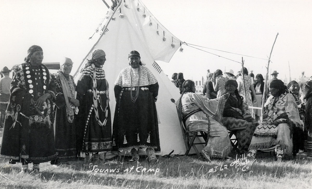 Women in camp, 1910-1920. MS 320 Paul Dyck Plains Indian Buffalo Culture Collection. P.320.462