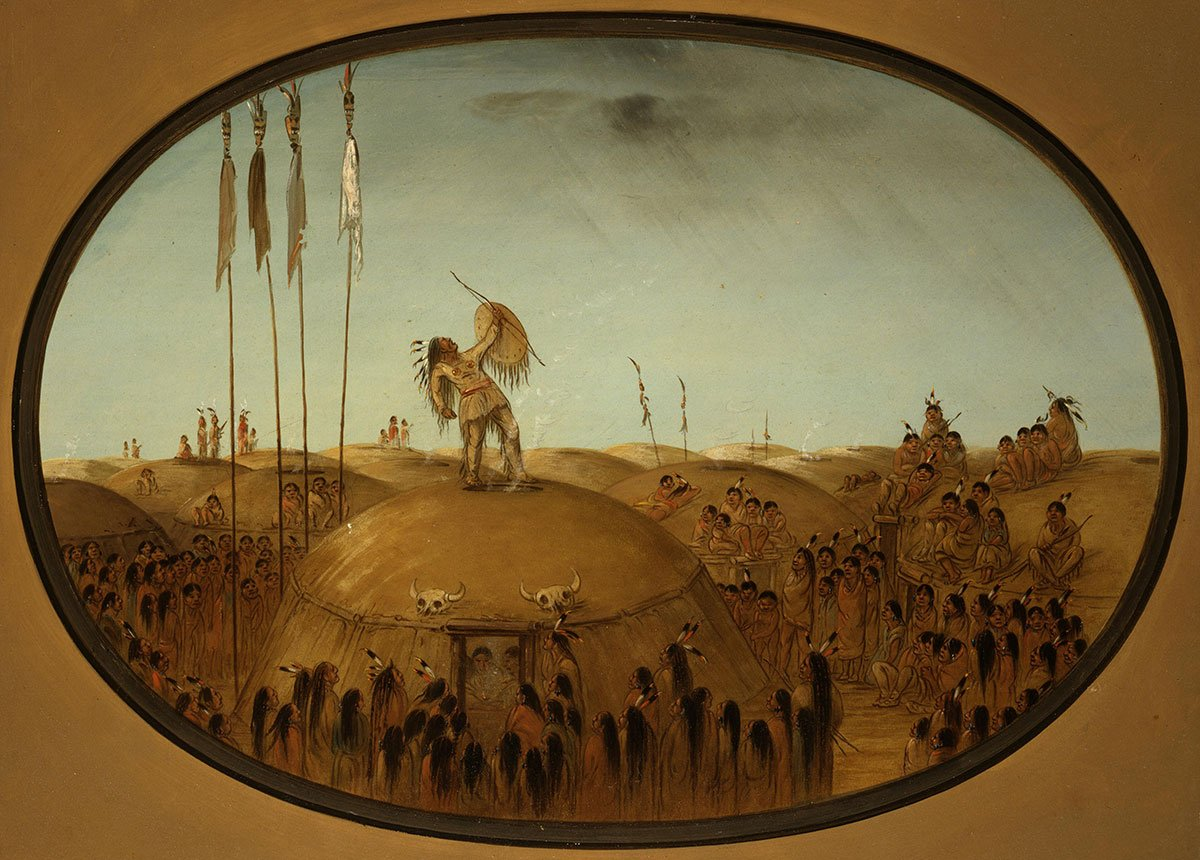 "George Catlin (1796-1872). ""Rain-Making, Mandan,"" ca. 1855-1870. Oil on paperboard. Gift of Paul Mellon. 24.86"