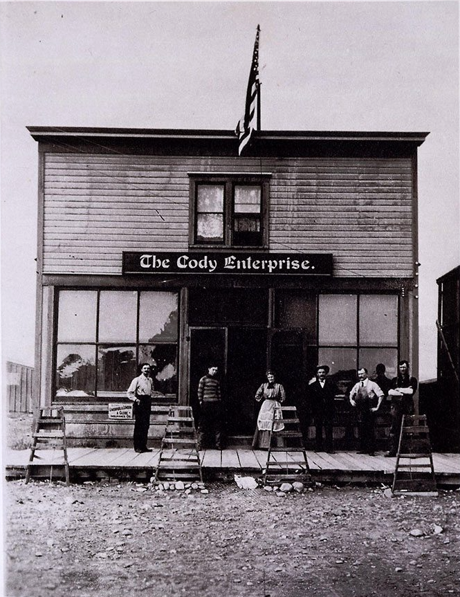 """First building of the """"Cody Enterprise,"""" photographed ca. 1905. MS 6 William F. Cody Collection, McCracken Research Library. P.69.575"""