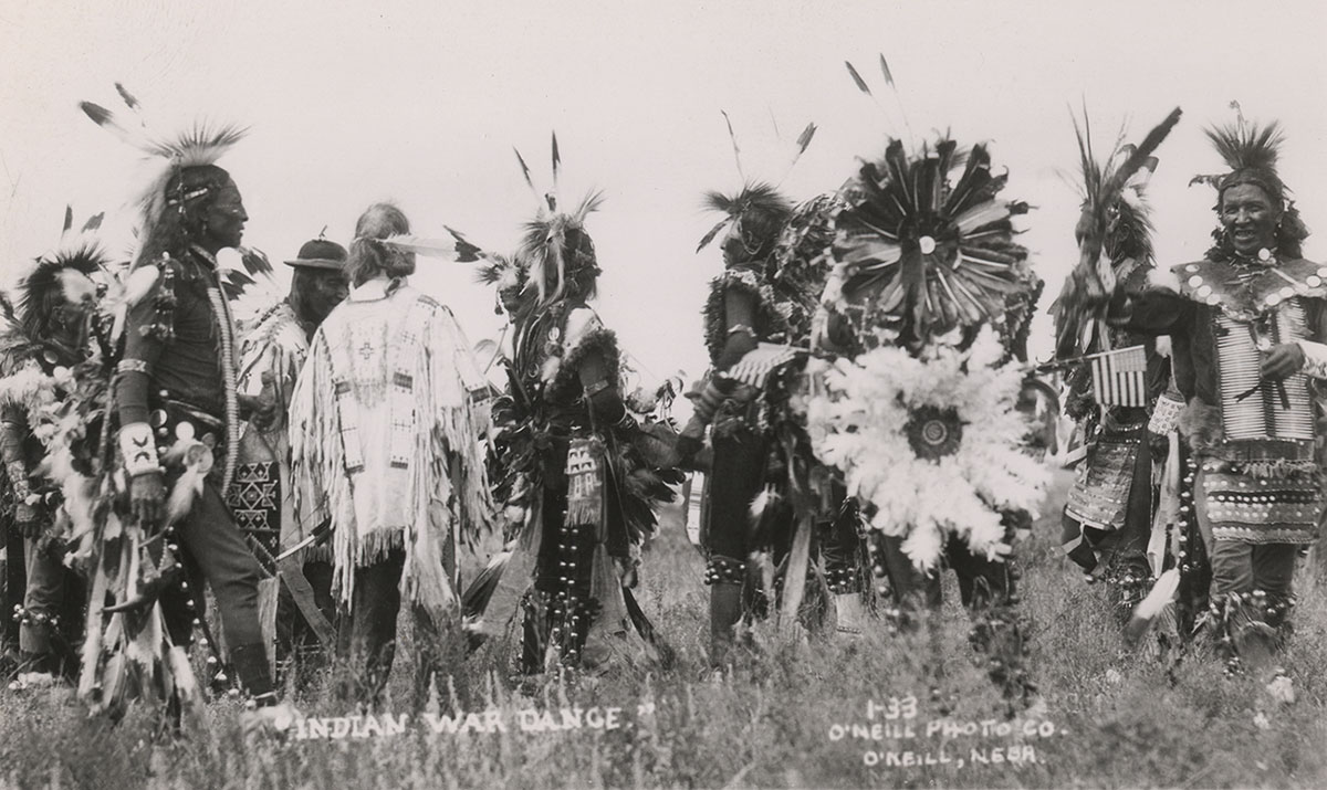 Lakota men in ceremonial regalia, ca. 1900–1910. MS 320 Paul Dyck Plains Indian Buffalo Culture Collection. P.320.452