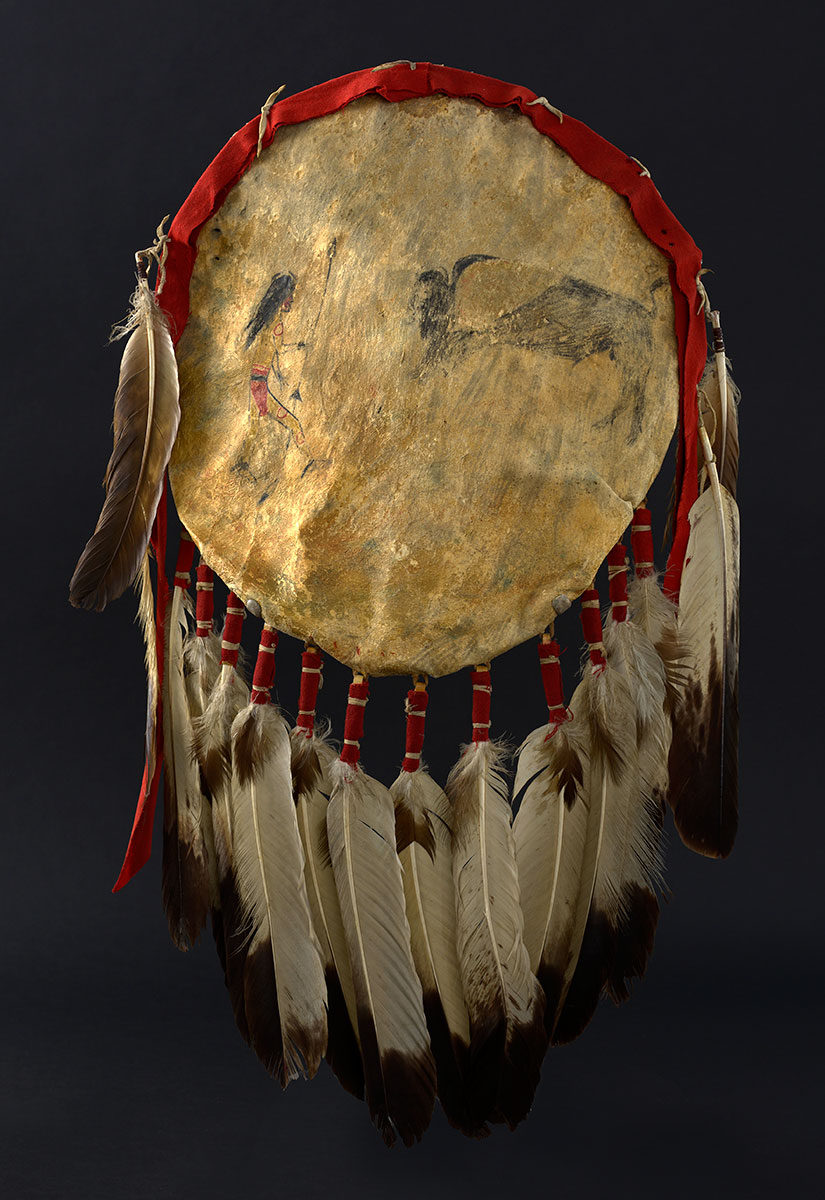 Shield cover depicting man with spear and a buffalo, ca. 1850. The Paul Dyck Plains Indian Buffalo Culture Collection, acquired through the generosity of the Dyck family and additional gifts of the Nielson Family and the Estate of Margaret S. Coe. NA.108.141