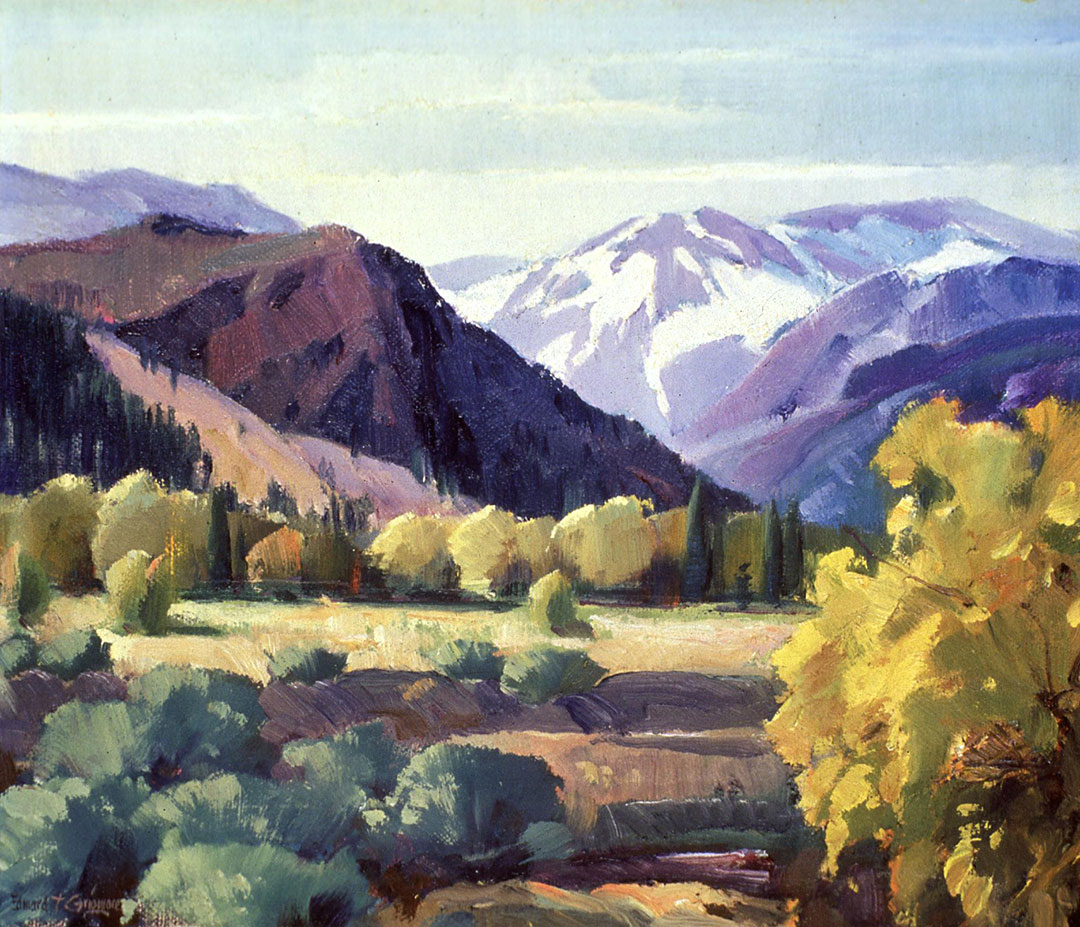 "Edward Grigware (1899–1960). ""Wyoming."" Oil on canvas, 10.25 x 12.125 inches. 43.61"