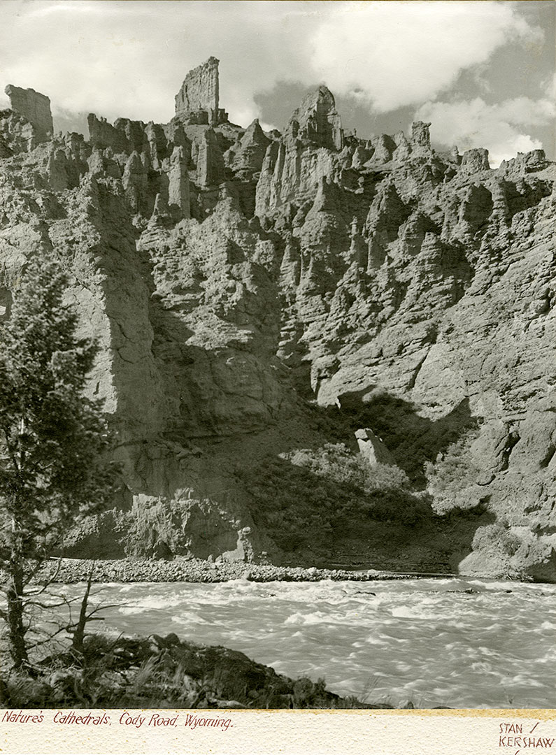 "Stanley Kershaw (1891–1963). ""Nature's Cathedrals, Cody Road, Wyoming."" MS 5 Cody Local History Collection. P.5.1401"