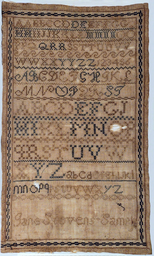 Embroidery samplers such as this, c. 1850, helped children learn their ABCs. Gift of Helen Cody Allan. 1.69.1294