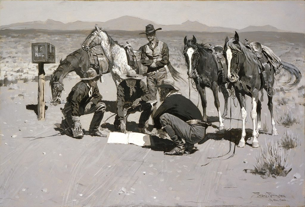 "Frederic Remington (1861–1909). ""Post Office in Cow Country,"" c. 1901. Black and white oil on canvas. 11.76"
