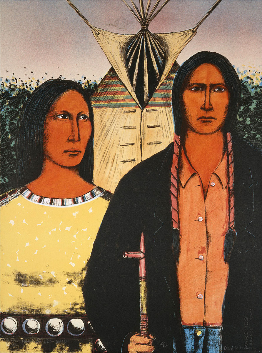 David P. Bradley (b. 1954). American Indian Gothic, 1983. Color lithograph on paper, 30 x 22.5 inches. Gift of Mrs. Damaris D.W. Ethridge. 1.84.5