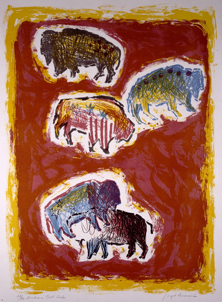Jaune Quick-to-See Smith (b. 1940). Five Buffalo, 1983. Lithograph on paper, 28 x 20 inches. Gift of Mrs. Damaris D.W. Ethridge. 1.84.3