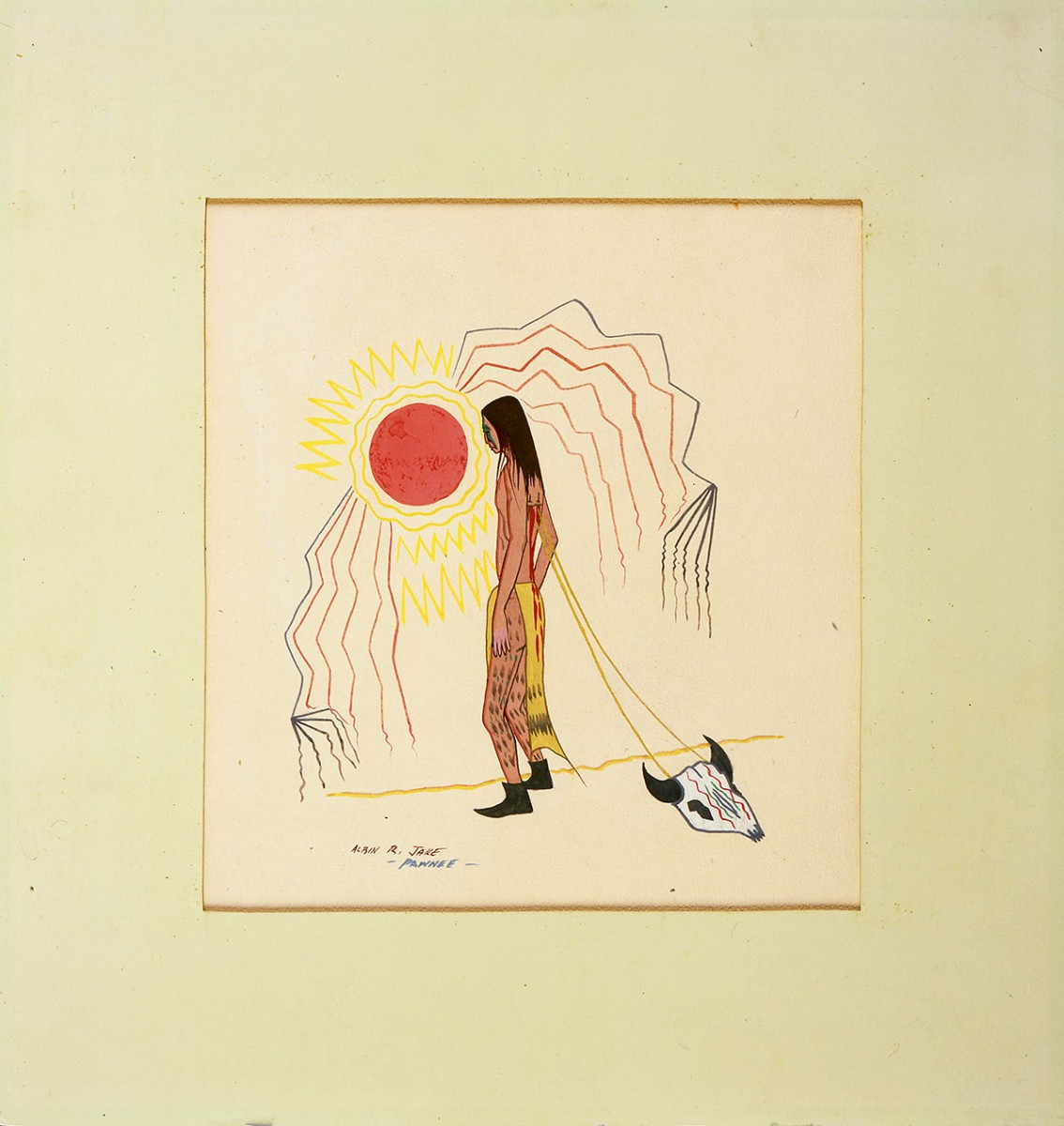Albin R. Jake. Untitled (Sun Dance Ritual). Gouache on paperboard, 14.5 x 13.75 inches. Gift of Anne T. Black, Lame Deer, MT. 32.71
