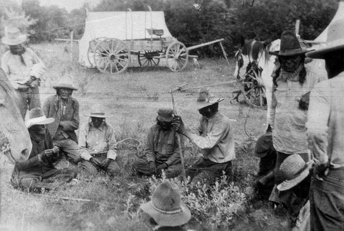 Cheyenne chiefs in council on the 50th anniversary of the Battle of Little Bighorn, July 26, 1926. MS 165 Thomas Marquis Native American Nitrate Negative Collection. PN.165.1.24