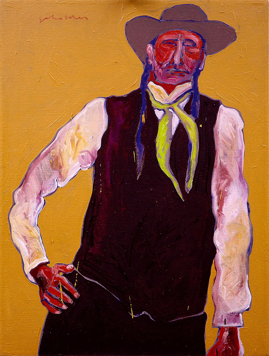 "Fritz Scholder (1937–2005). ""Half Breed,"" 1974. Oil on canvas, 40.125 x 30 inches. Gift of Jack and Carol O'Grady. 25.91.1"