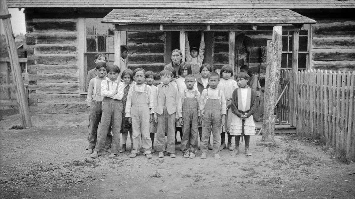 Schoolchildren in Lame Deear, ca 1922–1935. MS 165 Thomas Marquis Native American Nitrate Negative Collection. PN.165.2.126
