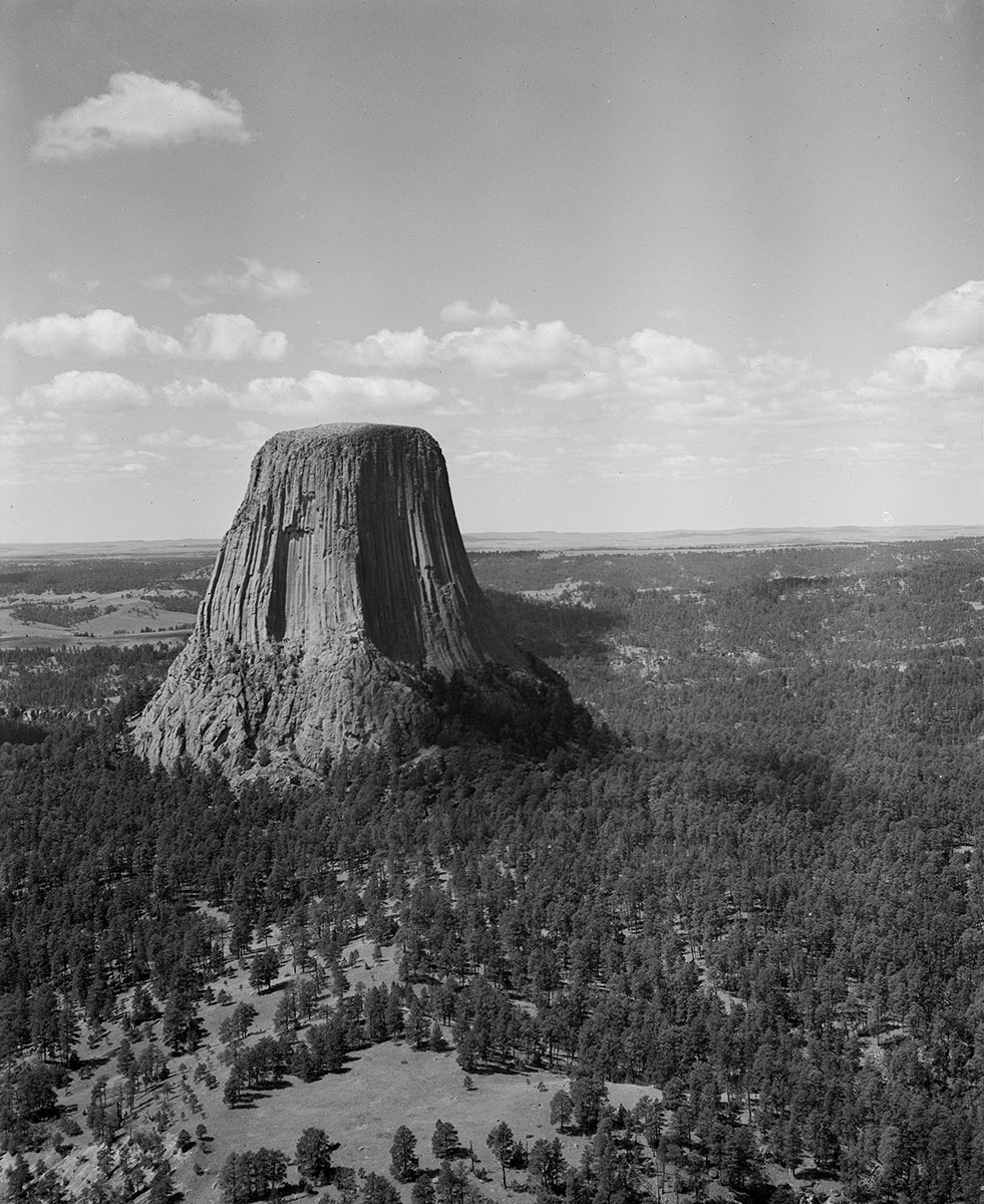 Aerial view of Devil's Tower in northeast Wyoming, 1964. MS 89 Jack Richard Photograph Collection. PN.89.37.8214.1