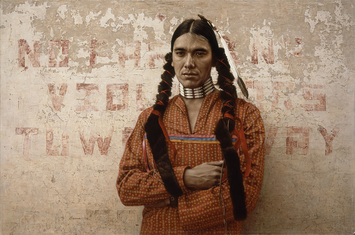 James Bama (b. 1926). A Contemporary Sioux Indian, 1978. Oil on panel, 23.375 x 35.375 inches. William E. Weiss Contemporary Art Fund Purchase. 19.78