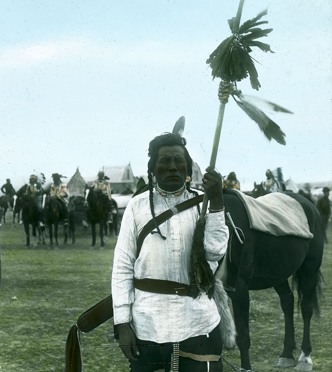 Crow man with horse, ca. 1903-1925. MS 95 William A. Petzoldt Lantern Slide Collection. LS.95.64