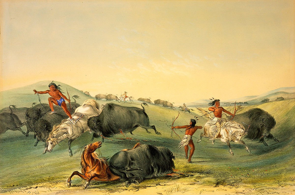 George Catlin (1796–1872). Buffalo Hunt: A Numerous Group, ca. 1844. Hand-colored lithograph. Gift in memory of William J. Holcombe, Bear Creek Ranch, Dubois, Wyoming. 14.98