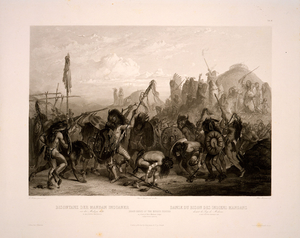 Karl Bodmer (1809–1893). Bison-Dance of the Mandan Indians/In Front of Their Medicine Lodge, ca. 1840–1843. Aquatint, 16.375 x 21.375 inches. Gift of Clara S. Peck. 21.69.18