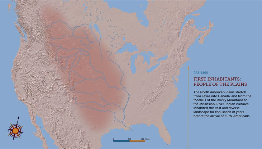 Still from animated map, Plains Indian Map Project, funded in part through a generous grant from The Brown Foundation, Inc., of Houston.
