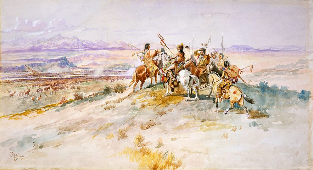 Charles M. Russell (1864 – 1926). Hunting Party, 1896. Watercolor on paper, 12.375 x 23 inches. Gift of William E. Weiss. 24.73