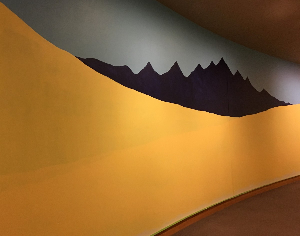The background of the mural, begun by artist Sarah Shearer, that FallFest Family Fun Day participants can help complete on November 17 at the Buffalo Bill Center of the West.