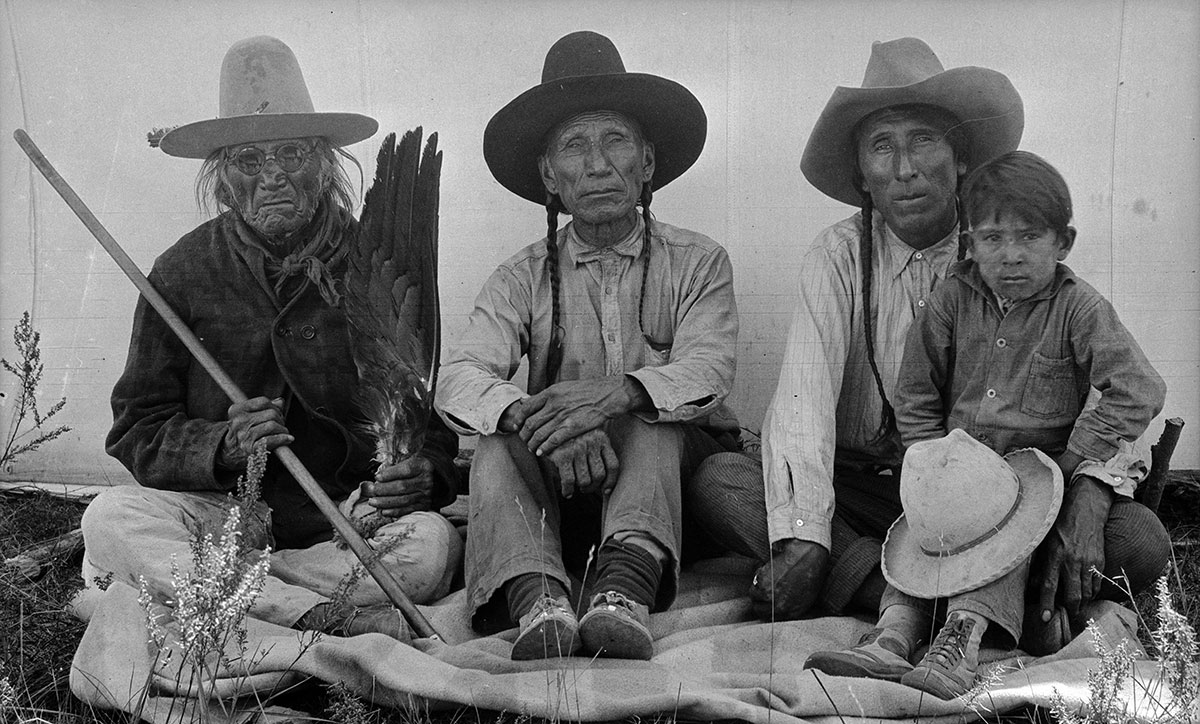 Four generations of the Iron Shirt family, ca. 1922–1935. Northern Cheyenne. MS 165 Thomas B. Marquis Native American Nitrate Negative Collection. PN.165.3.38