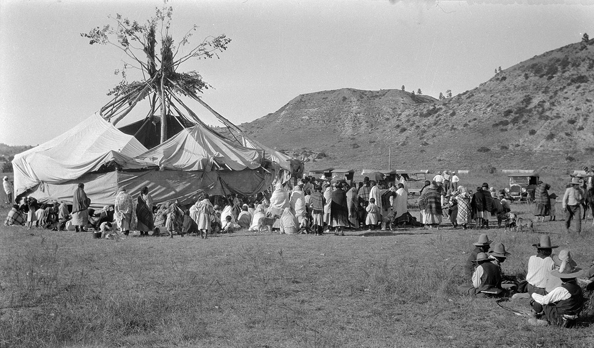 Sun Dance Lodge, Lame Deer, Montana, 1927. MS 165 Thomas B. Marquis Native American Nitrate Negative Collection. PN.165.1.6