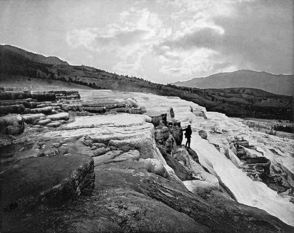 "White Mountain Hot Springs (Mammoth Hot Springs, Yellowstone). William Henry Jackson photograph. E. Bierstadt's Albertype. Hot Springs Series, Plate III. ""U.S. Geological Survey of the Territories,"" 1871-1872. WHJ-A.057"