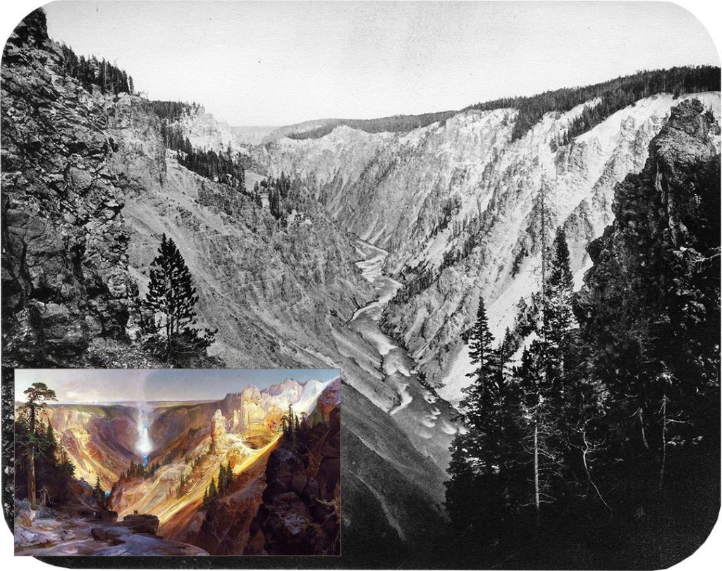 "W.H. Jackson's camera brought the depth and contour of the Grand Canyon of the Yellowstone, a scene unknown to the American public. Jackson wrote, ""the Grand Canyon presents a more enchanting and bewildering variety of forms and colors than human artists ever conceived."" But even Jackson realized that, ""the great picture of the 1871 survey was no picture but a painting by (Thomas) Moran of Yellowstone Falls,"" capturing, ""the color and the atmosphere of spectacular nature."" WHJ-A.035. Inset: Thomas Moran (1837-1926). ""The Grand Canyon of the Yellowstone,"" 1893-1901. Oil on canvas. On loan at Center of the West in 2009 from Smithsonian American Art Museum; lent by the Department of the Interior Museum. Gift of George D. Pratt [1928.7.1] L.319.2009.1"