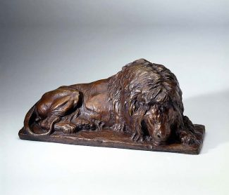 "Raffle prize: ""Sleeping Lion"" sculpture by Alexander Phimister Proctor"