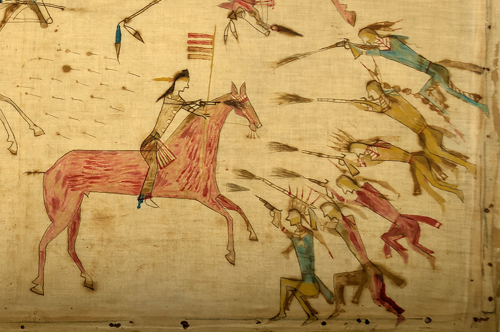 A Treasure from Our West: Mee-nah-tsee-us (White Swan) (ca. 1851-1904). Apsaalooke (Crow), Montana. Painting, ca. 1887. Muslin, pencil, ink, watercolor, 37.25 x 70.5 inches. The Paul Dyck Plains Indian Buffalo Culture Collection, acquired through the generosity of the Dyck family and additional gifts of the Nielson Family and the Estate of Margaret S. Coe. NA.702.40