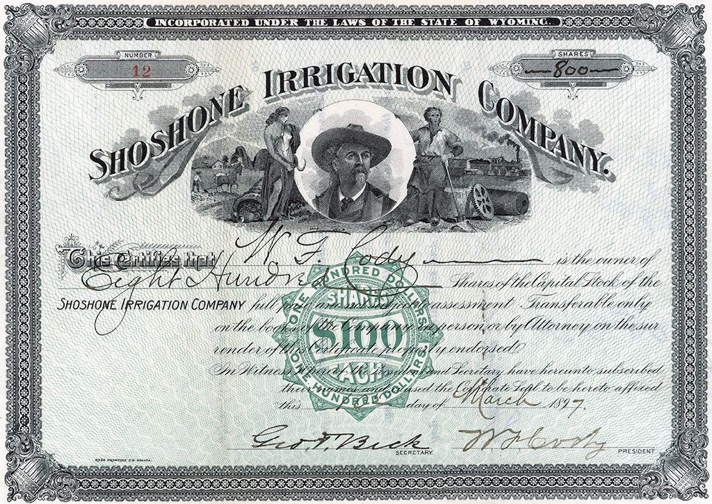 Shoshone Irrigation Company stock certificate. MS6 William F. Cody Collection. MS6.0512.5.01a