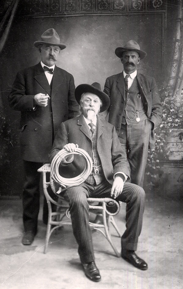 William F. Cody, seated, with George Beck (left), and Henry J. Fulton, thought to be a sheep rancher (right), ca. 1910. MS6 William F. Cody Collection. P.6.266
